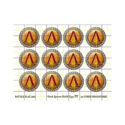 Battle Flag - Spartan Shield Set Greek Key Design Rim (Ancient) - 28mm - Spartan Shield Design