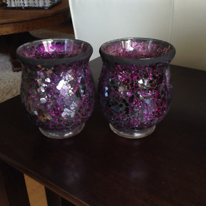 Two purple, glass mosaic candle holders