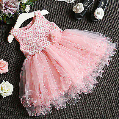 Princess Kids Girls Dress Lace Flower Party Gown Formal Dresses Tulle Tutu Dress - Girls Dresses Winter