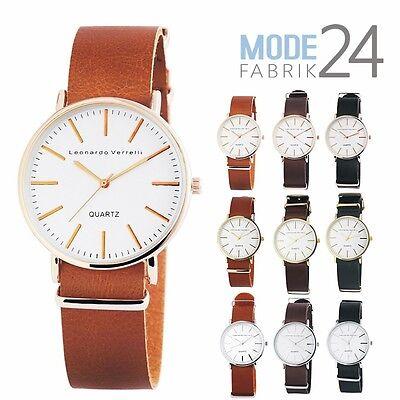 Herren Design Leder (HERREN UHR LEONARDO VERRELLI Klassisch Design Leder Silber Rose Gold 4cm Armband)