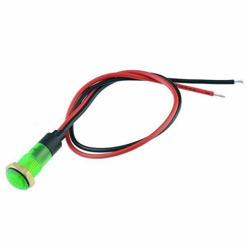 5 x Green Prewired 8mm Panel Indicator 220V