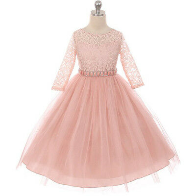 BLUSH Flower Girl Dress Birthday Prom Party Wedding Recital Bridesmaid Gown