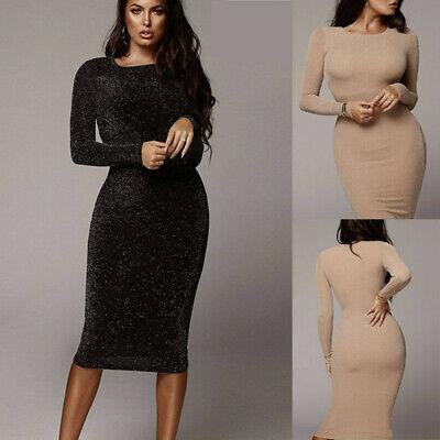 Damen Langarm Bodycon-Kleid Midi Kleider Winter Partykleid Abendkleid Cocktail
