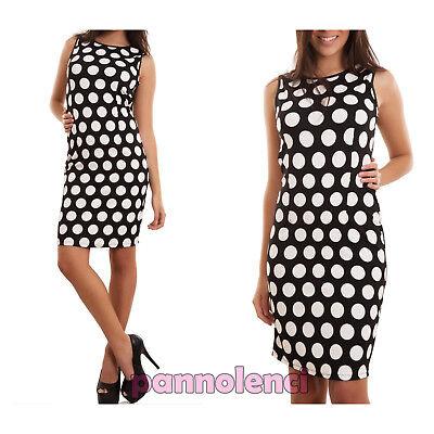 Kleid Frau Minikleid Up Knie Etuikleid Tupfen Angepasst 60s Reißverschluss Neu ()