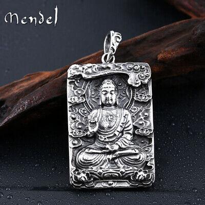 MENDEL Stainless Steel Mens Thai Tibetan Large Amulet Buddha Pendant Necklace Silver Buddha Pendant Necklace