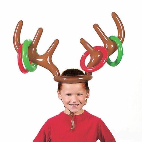 Inflatable Reindeer Christmas Hat Antler Ring Toss Holiday Party Game Toys Es