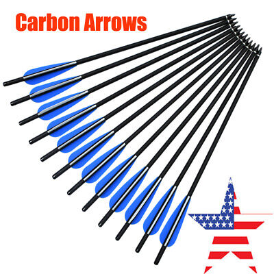Carbon Arrow Crossbow Bolt For Hunting Archery Half Moon Nock Outdoor 12X 16