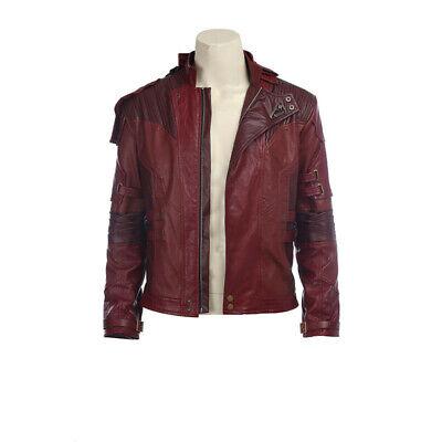 Wächter der Galaxie Vol 2 Star Lord Cosplay Kostüm rot PU Jacke Mantel Nach Maß