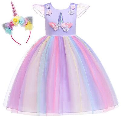 Tutu Dress Costume (Flower Girls Unicorn Dress Princess Birthday Tutu Costume Hair Hoop Kid Cosplay)