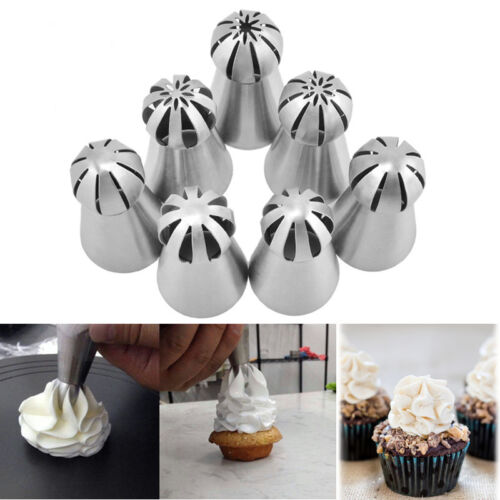 7PCS DIY Cake Decorating Tip Russian Icing Piping Nozzles Cream Pastry Tools