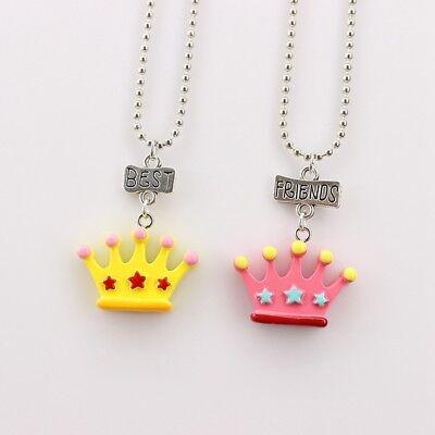 2PCS Kids Best Friend Crown Necklace Lovely Pendants Necklaces For Children