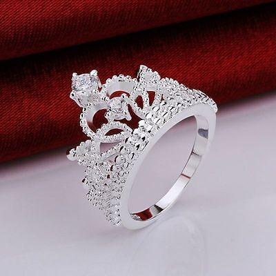 �nigin Krone Versilbert Ring Hochzeit  Kristall (Prinzessin Krone Ringe)