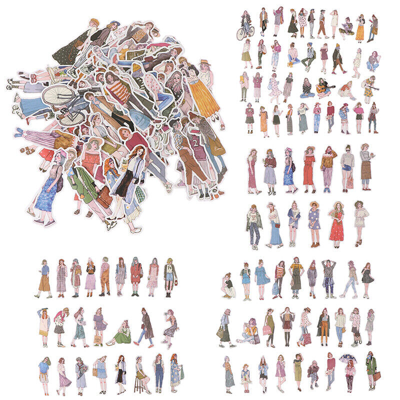 100pcs/pack lovely girls Stickers scrapbooking hand book fas