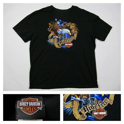 Harley Davidson XXL Emblem Shirt Eagle Motorcycle Flames Las Vegas 2007 2XL VTG for sale  Adairsville