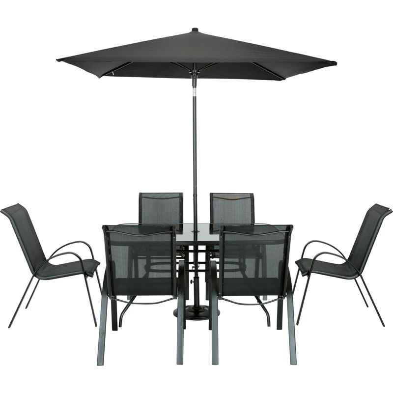 homebase andorra black garden furniture set with 6 chairs table parasol