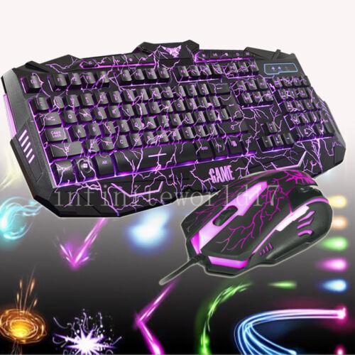 Gaming Tastatur mit Gaming Maus Beleuchtung Gamer PC Keyboard beleuchtet 3 Farbe