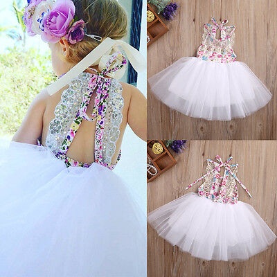 Toddlers Tutu Dress (US Baby Kids Girls Party Dresses Tulle Tutu Lace Floral Dress Backless)