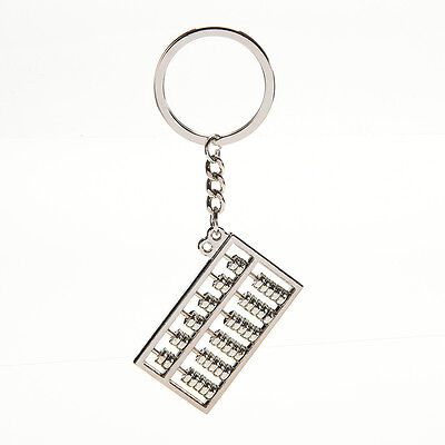Silvery Chinese Accounting Tool 6 Rows Abacus Key Chain Ring Keychain Key LY