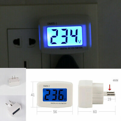 Lcd Digital Voltmeter Plug-in Ac 110v-300v 120v 230v Home Voltage Meter Monitor