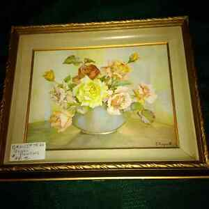 Vintage painting by E. Hogarth - flowers London Ontario image 1