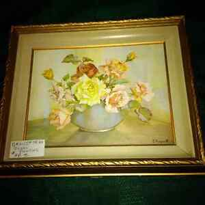 Vintage painting by E. Hogarth - flowers