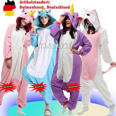 Einhorn Cosplay (Onesie Einhorn Kostüme Pony Cosplay Pyjama Tier Kigurumi Erwachsene Unisex)