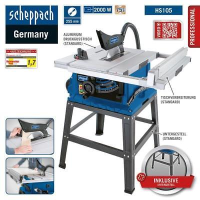 Scheppach PROFI Tischkreissäge HS105 2000 Watt Schnitthöhe 75mm mit Untergestell