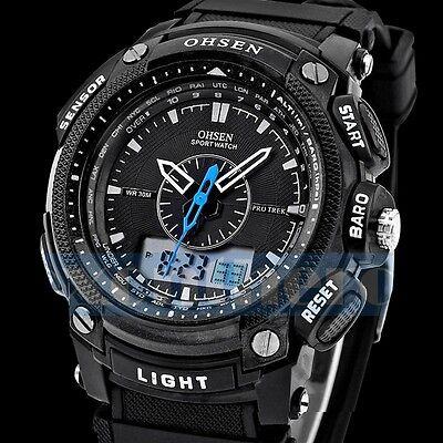 Kyпить OHSEN Waterproof Men's LCD Date Analog Digital Alarm Rubber Sport Wrist Watch на еВаy.соm