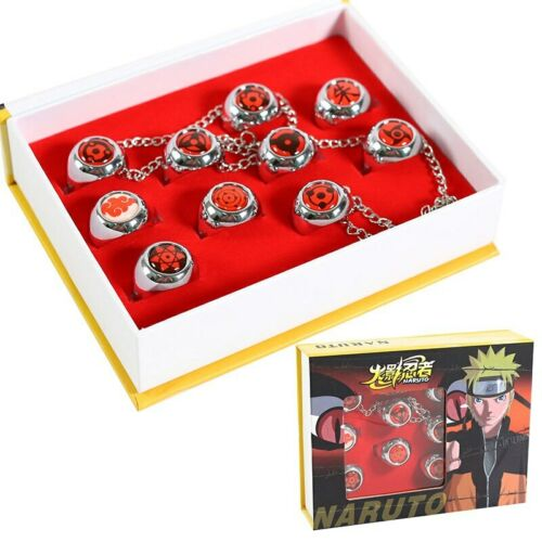 10Pcs Naruto Rings Itachi Uchiha Akatsuki Sharingan Cosplay Ring Set New in Box