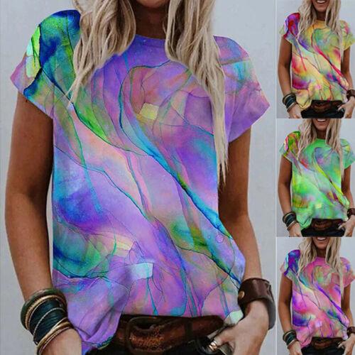 Summer Womens Casual Tie-dye T Shirt Crew Neck Short Sleeve Blouse Loose Top Tee