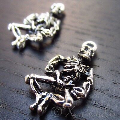 Skeleton Halloween Wholesale Silver Plated Charms C8390 - 10, 20 Or 50PCs - Halloween Charms Wholesale