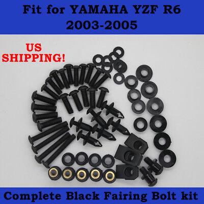 2005 Yamaha R6 Bolt - Complete Screws Black Bolt Kit fit for YAMAHA 2003-2005 YZF R6 2006-2009 R6S