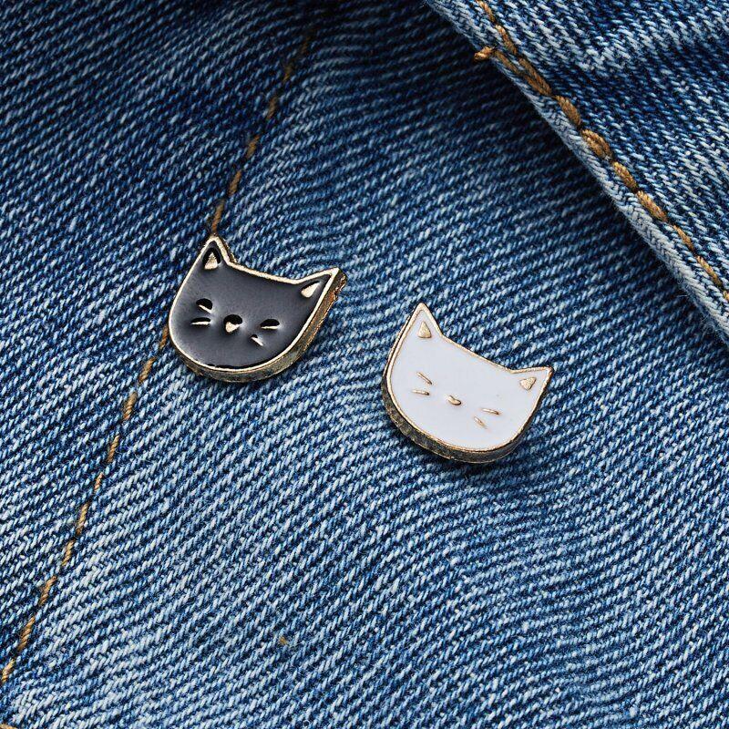 2pcs/set Cartoon Cat Animal Enamel Brooches Pins Badge Cute