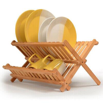 Scolapiatti in legno di bambù pieghevole scola stoviglie tazze richiudibile