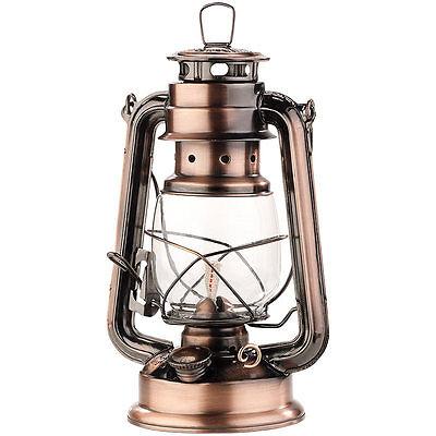 Öllampe: Nostalgische Petroleum-Sturmlaterne mit Glaskolben, bronze, 24 cm