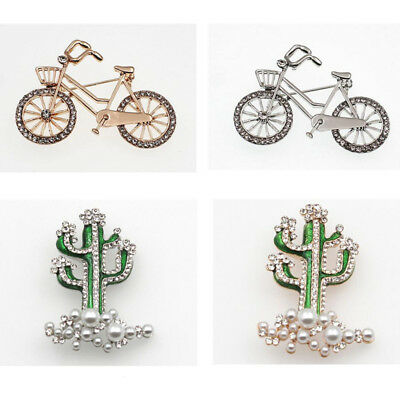 (Bridal Wedding Bicycle Bike Cactus Pearl Crystal Brooch Pin Jewelry Party Gift)