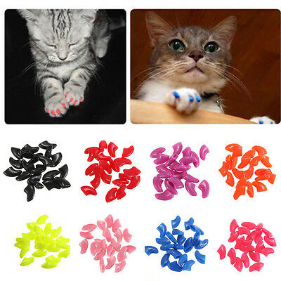 Hot 20pcs Dog Nail Cap Covers Cute Puppy Paw Claw Soft Nail Protect Pet Supplies