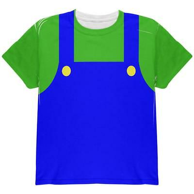 Halloween Italian Green Plumber Costume All Over Youth T Shirt](All Green Halloween Costume)
