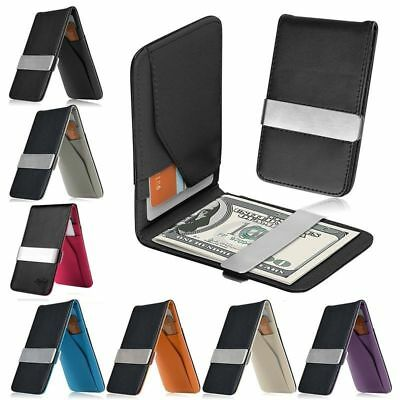 Black Money Clip - Mens Genuine Leather Silver Money Clip Slim Wallets Black ID Credit Card Holder