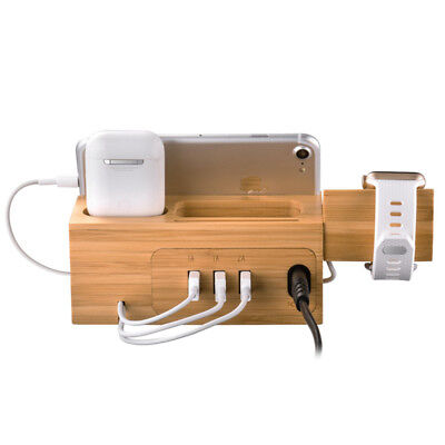 3 in 1 Bamboo Wood Charging Station Stand Dock for Apple Watch &iPhone & Airpods