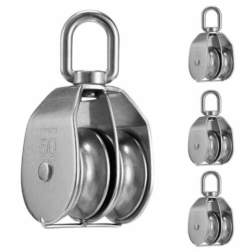 4 Pack 360° Double Pulley Stainless Steel M50 Pulley Wheel Roller Lifting 400kg