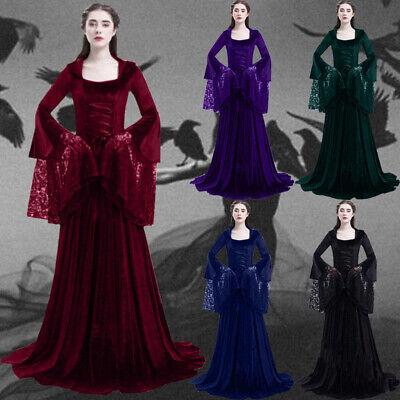 aissance Frauen Fackel Ärmel Bodenlangen Retro Kleid Kostüm (Mittelalterliche Frau Kostüm)