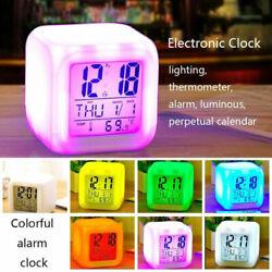More Color Kids Bedroom LED Changing Digital Glowing Cube Alarm Clock Night Lamp