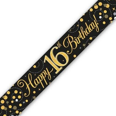 Happy 16th Birthday Banners (Holographic Black & Gold Happy 16th Birthday Banner 270 cm long repeats 3 times)