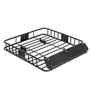 "Universal Black Roof Basket Cargo Carrier for Sedan SUV (43"")"