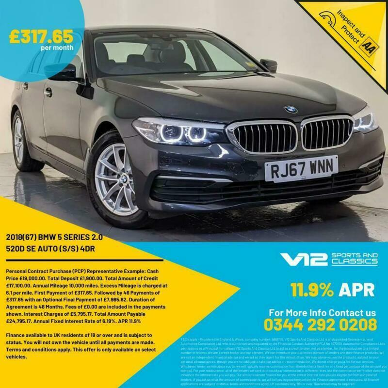 2018 BMW 520D SE AUTO VIRTUAL DASH LEATHER HEATED SEATS 1 OWNER SERVICE HISTORY