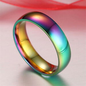 Stainless Steel Rainbow Pride Ring Size 7