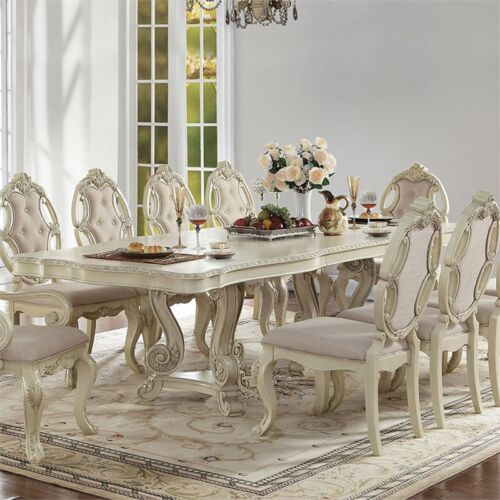 "Reginald Antique White Formal Double Pedestal Dining Table W/ Leaf 90"" - 114"""
