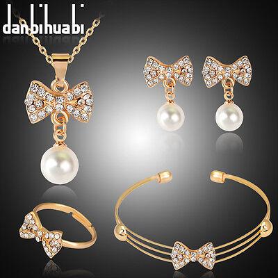 (Lovely Rhinestone Pearl Female Jewelry Necklace Pendant Earrings Ring Bangle Set)