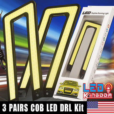 6 Pcs Deluxe U Shape 6000K White COB Waterproof LED Light DRL Fog Driving Light